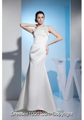 Mermaid Bateau Brush Train White Bridal Dresses with Beading