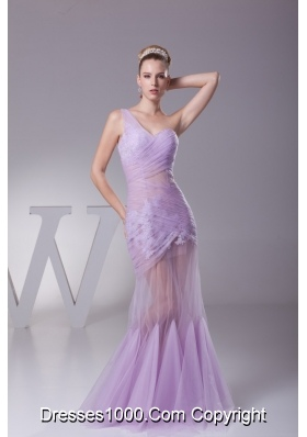 One Shoulder Mermaid Ruching Prom Dresses in Lavender with Sheer Waist