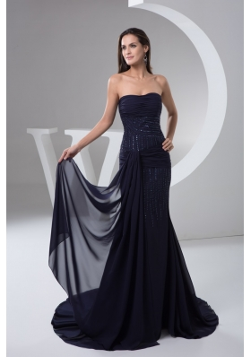 Ruched and Beaded Chiffon Prom formal Dress in Navy Blue 2013