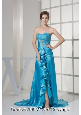 Ruching Embroidery Ruffles Slit Sweetheart Prom Dress with Brush Train