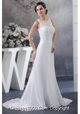 Scoop Neck Peekaboo Keyhole White Bridal Dresses Brush Train