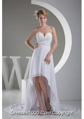 Sexy Sweetheart High-low Beaded Ruched White Wedding Dress