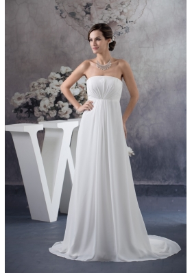 Simple Style Pure Brush Train Ruched Wedding Dresses in White