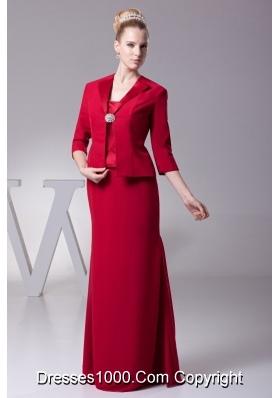 Straps Bodice Floor-length Zipper-up Back Prom Dresses in Red