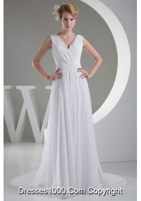 Surplice Neck Beaded Pleated White Wedding Dress Watteau Train