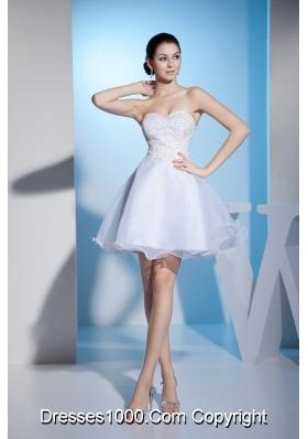 Sweetheart White Mini Wedding Dresses Colorful Beaded Organza