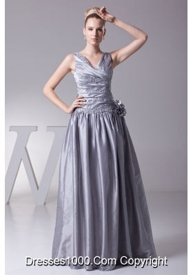 V-neck Appliques Beading and Hand Made Flowers Ruching Prom Dresses