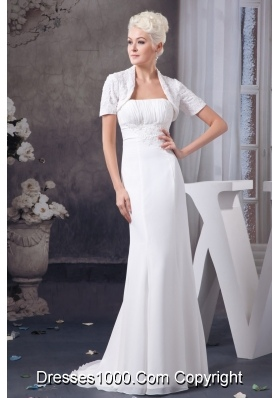 Appliqued and Ruched Wedding Dresses with Brush Train and Jacket