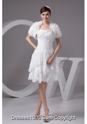 Appliqued and Ruffled Knee-length Wedding Dresses with Jacket