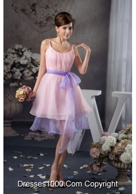 Baby Pink Straps Prom Celebrity Dress with Lavender Sash