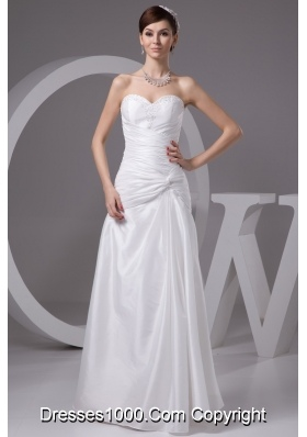 Beaded and Ruched Bridal Dresses with Sweetheart and Floor-length