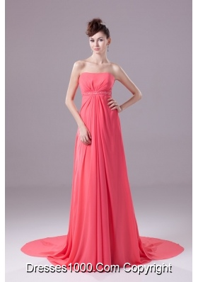 Beaded and Ruched Watermelon Chiffon Prom Dresses with Watteau Train