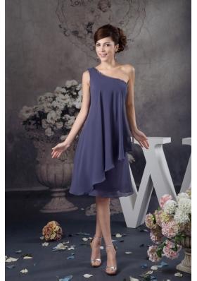 Beaded One Shoulder Navy Blue Column Mini Prom Evening Dress