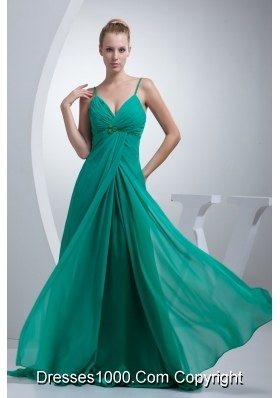 Beading and Ruches Accent Turquoise Prom Evening Dress with Straps