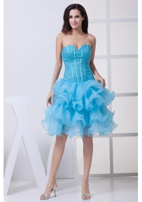 Beading and Ruffled Layers Accent Organza Prom Dresses in Aqua Blue