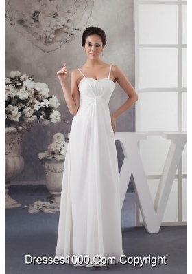 Column Spaghetti Straps White Wedding Dress with Ruche and Beading