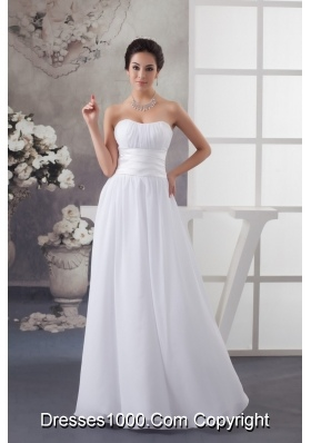 Empire Sweetheart Ruched White Dress for Wedding Floor-length