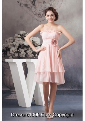 Flounced and Pleated Chiffon Prom Evening Dress with Flower