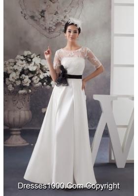 half sleeve column white wedding dresses with black handmade flower