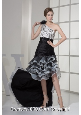 High Low One Shoulder Prom Dresses with Flower Beading and Ruffled Layers