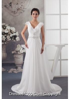 Latest Sweep Train V-neck Beaded Ruched  White Wedding Dress