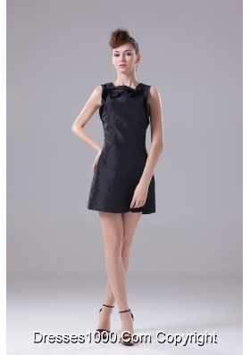Mini-length Prom Dress in Black with Petal Square Neckline