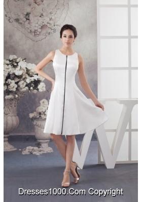 Newest Scoop Neck Knee-length Trumpet White Dress for Brides