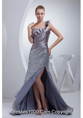 One Shoulder High Slit Sequins Over Skirt Silver Prom Evening Dress