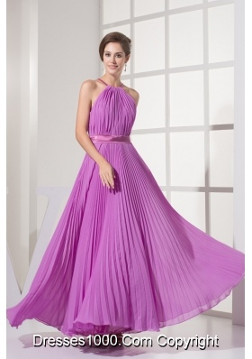 Pleating Decorated Halter Top Ankle-length  Prom Dresses with Sash