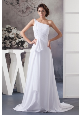 Ruched and Beaded Cool Neckline with Brush Train and One Shoulder