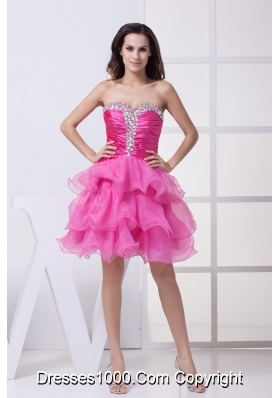 Ruching and Diamonds Decorated Ruffled Layers Sweeeheart Prom Dress