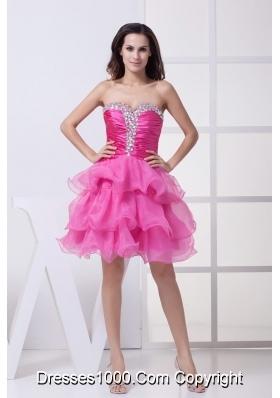Ruching and Diamonds Decorated Ruffled Layers Sweeeheart Prom Dress