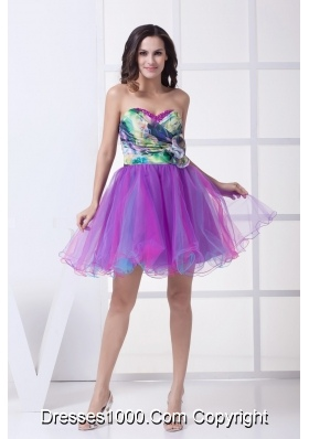 Ruching and Flower Accent Mini Organza Prom Dresses with Colorful Print