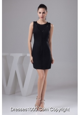 Simple Black Scoop Prom Cocktail Dresses of Mini-length