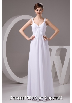 Simple Empire Straps Floor-length White Wedding Dress with Ruche