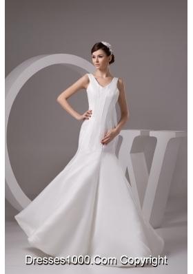 Simple Style V-neck Mermaid Floor-length White Bridal Dresses
