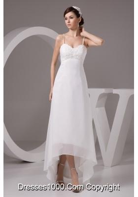 Spaghetti Straps High-low White Wedding Dress with Appliques
