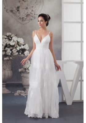 Spaghetti Straps Lace Decoration Wedding Dresses with the Back Out