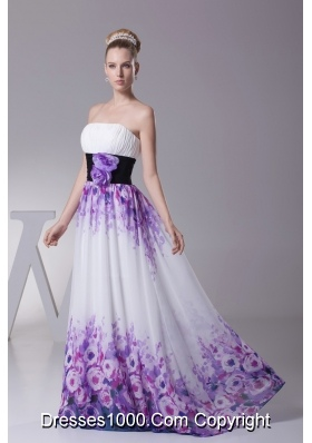 Strapless Colorful Pringting Prom Dresses with Handle Flower Sash