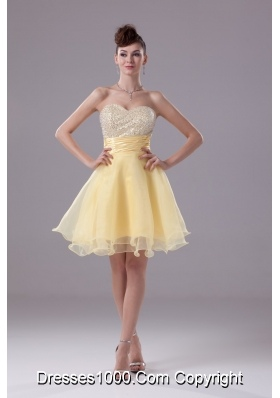 Sweetheart A-line Prom Gowns with Ruched Sash and Beaded Breast