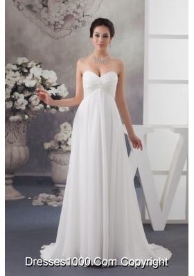 Sweetheart Brush Train Wedding Dress with Beading and Ruche