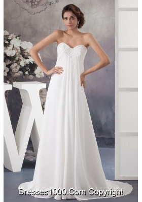Sweetheart Strapless Beaded and Ruched Wedding Dress with Brush Train