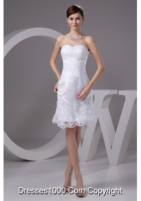 Sweetheart Strapless Knee-length Wedding Dresses with Appliques