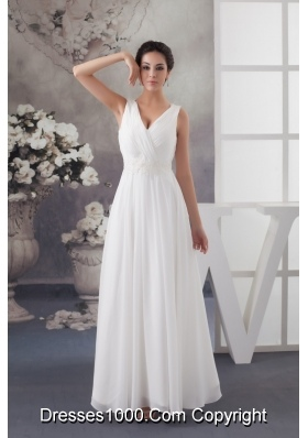 V-neck Ruched Ankle-length White Wedding Dress with Appliques