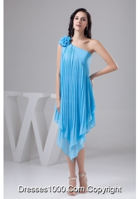 Asymmetrical Aqua Blue Chiffon Prom Dress with Pleats and Flower