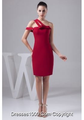 Asymmetrical Mini Red Column Fitted Prom Dress with Bowknot