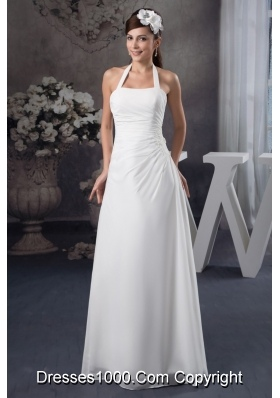 Beaded and Ruched Bridal Gowns of Halter and Floor-length in Vogue