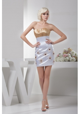 Beaded and Ruched Mini Column Wedding Dresses in White and Champagne