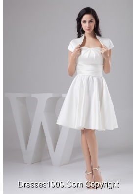 Beautiful Ruched Knee-length Pearl White Bridal Gowns with Jacket