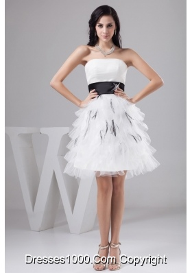 Black and White Mini-length Bridal Gowns with Beading and Layers